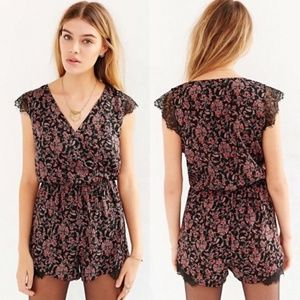 UO Kimchi Blue Floral Printed Lace Romper